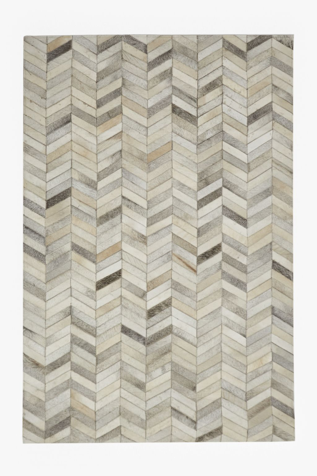 Ul Li Tonal Chevron Patterned Cowhide Leather Rug