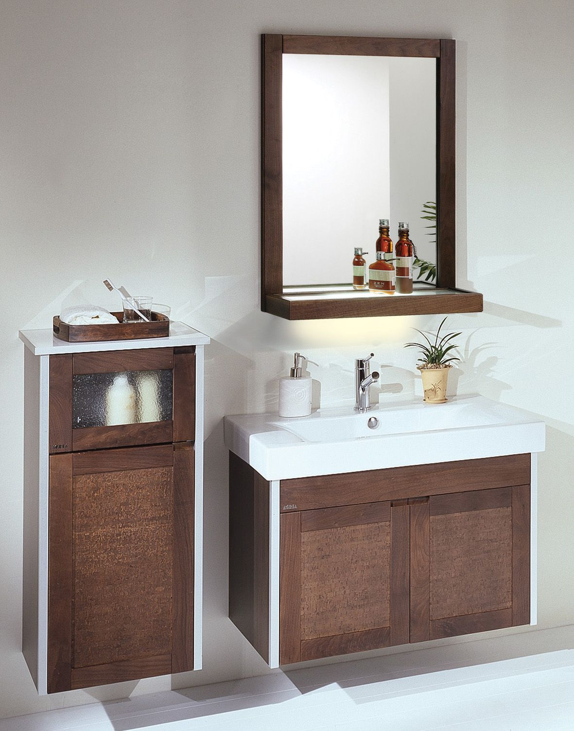 floating storage aside sink plus faucet under mirror filled on elegant bathroom - Bathroom Sink And Mirror