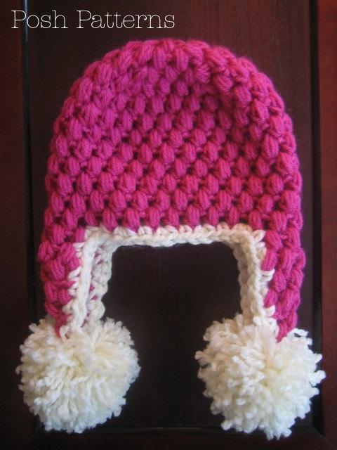 Crochet Pattern Puff Stitch Earflap Hat Crochet Hat Pattern