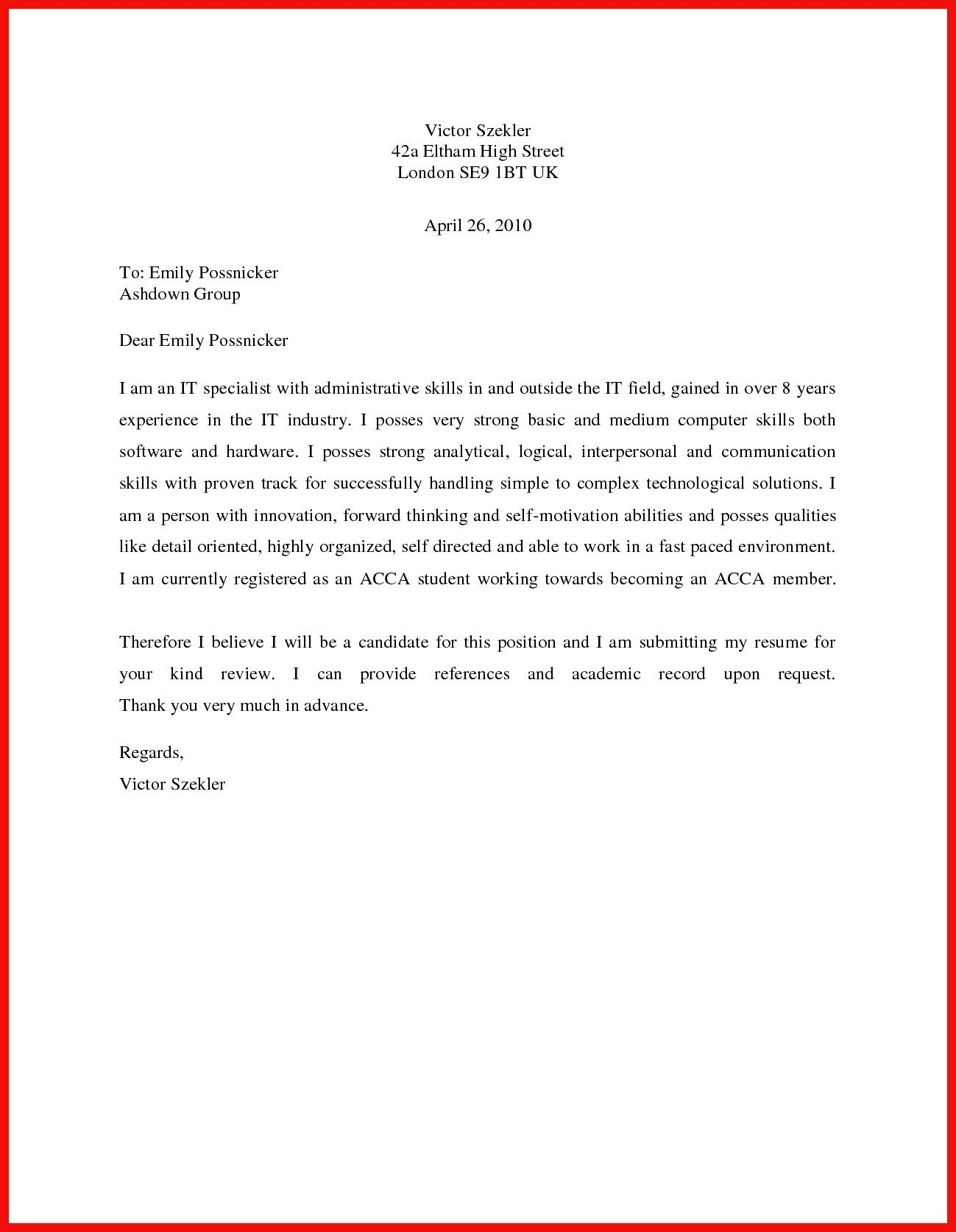 23+ Simple Cover Letter Template Simple cover letter