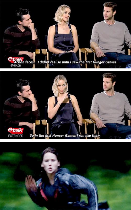 Jen's action face | Hunger games cast, Hunger games series ...