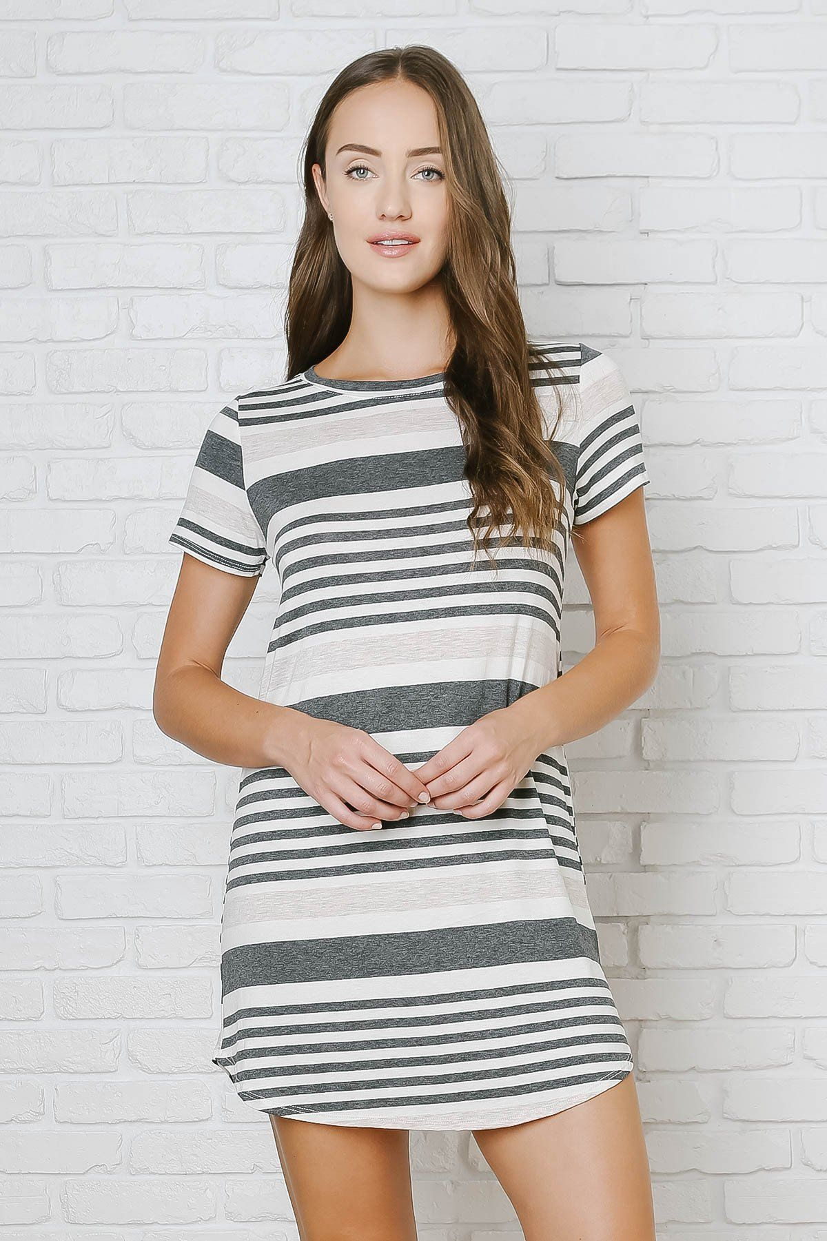 Gray and White Striped T-Shirt Dress