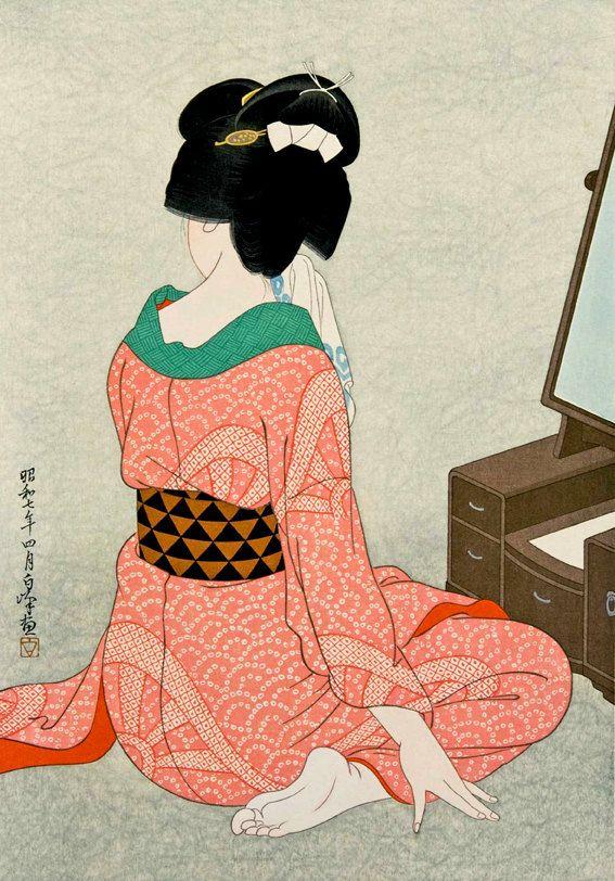 Japanese art Geisha In front of the mirror Hirano Hakuho FINE | Etsy