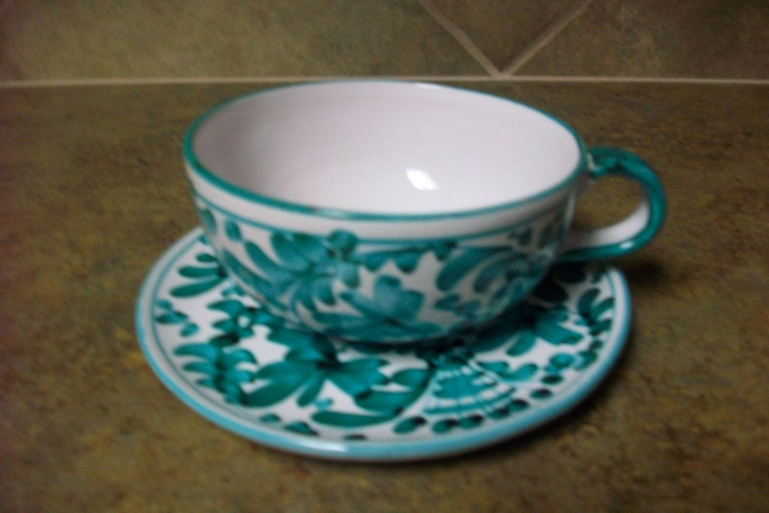 Italy Pottery Vintage Ex-Large Cup and Saucer Set by KSTHISTHATTREASURES on Etsy