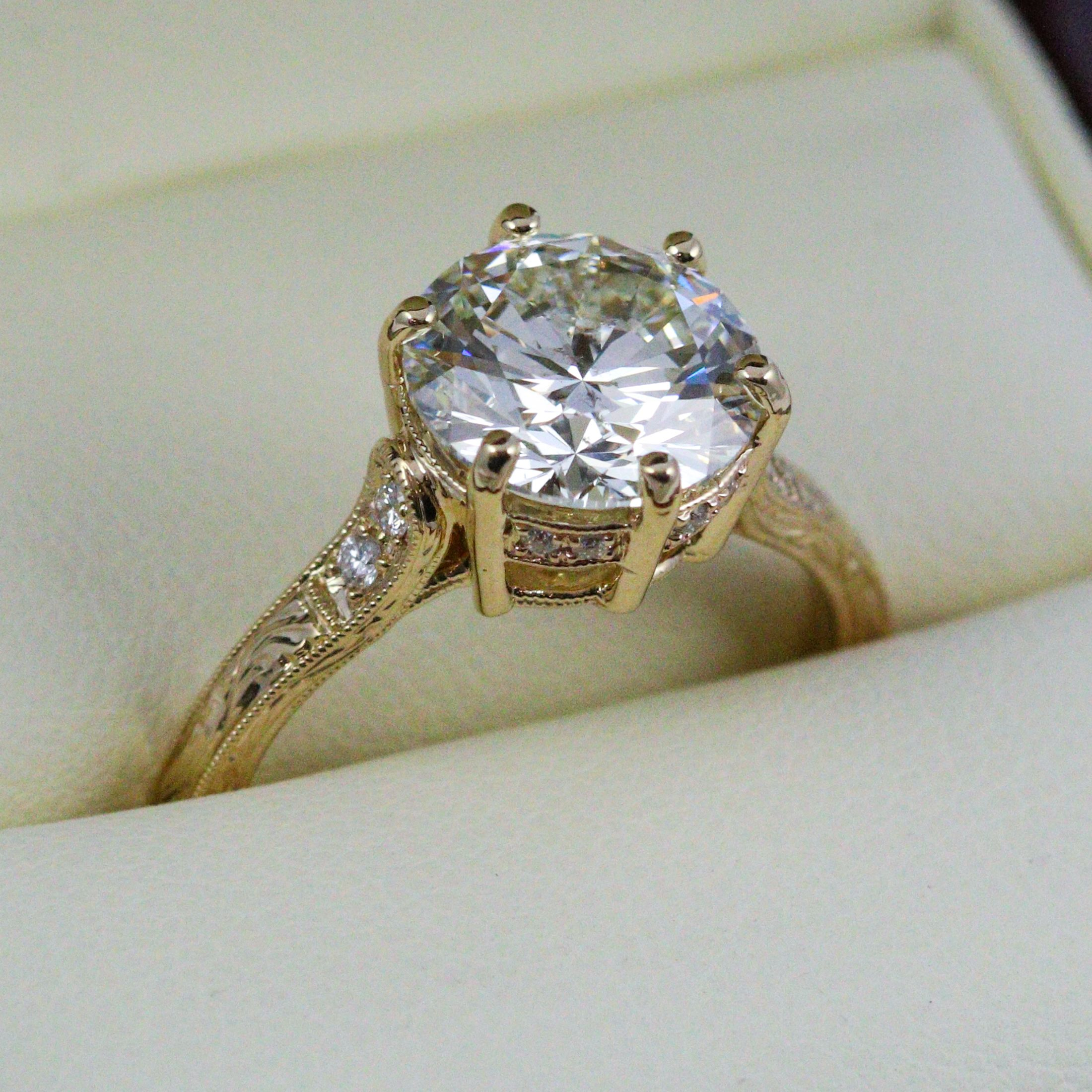 A Beautiful 3ct Diamond Set In A Yellow Gold Setting By Beverley K