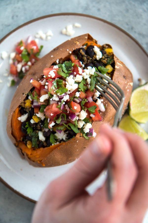 Southwest Quinoa And Black Bean Stuffed Sweet Potatoes