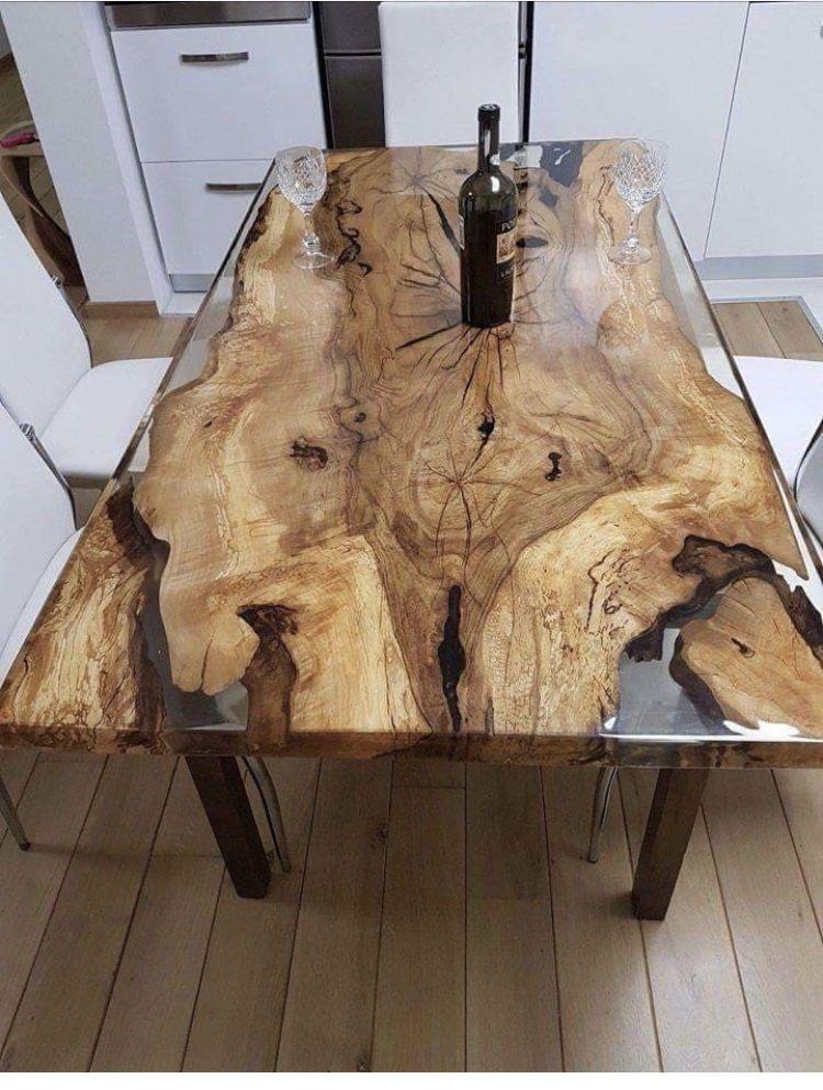 Wooden And Glass Table Harztisch Diy Holz Und