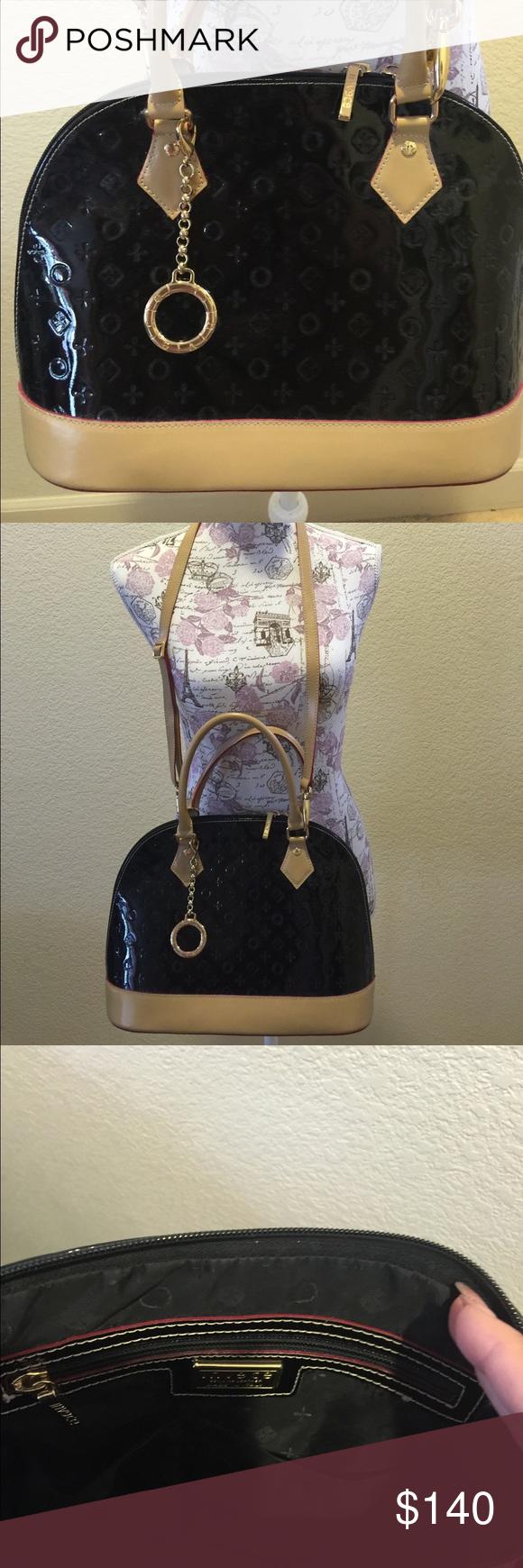 Invece Black Leather Handbag Satchel Crossbody Italian Purse Great