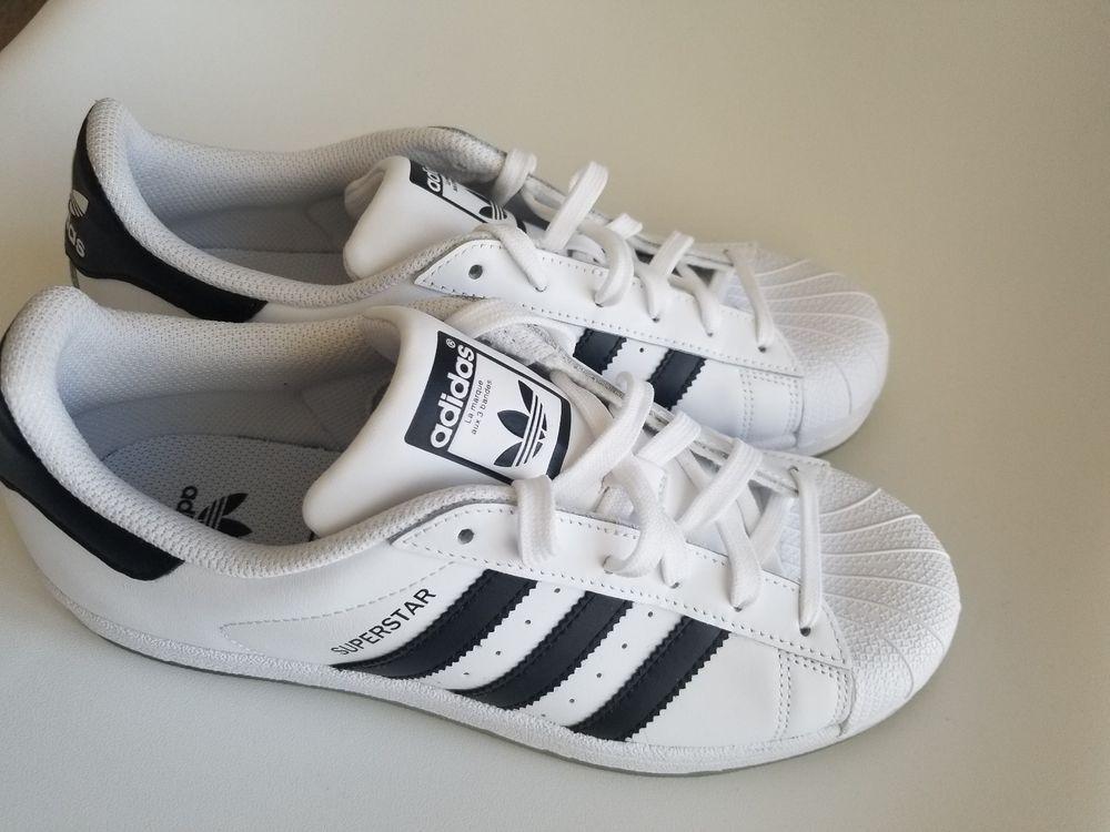 NEW Adidas Superstar J Big Kids Sz 7 WhiteBlackWhite