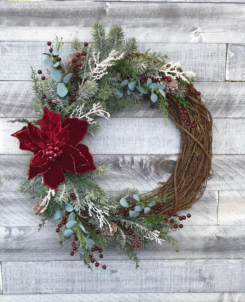 Modern Christmas Wreath For Front Door Elegant Christmas Etsy Christmas Wreaths Holiday Wreaths Wreath Decor