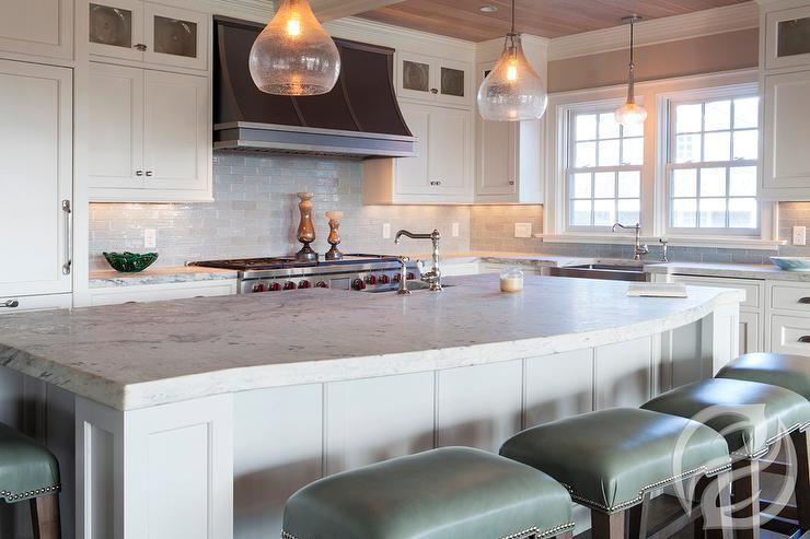 Elegant Kitchen Features Blown Glass Pendants Illuminating A Classy Kitchen Island Counter Inspiration