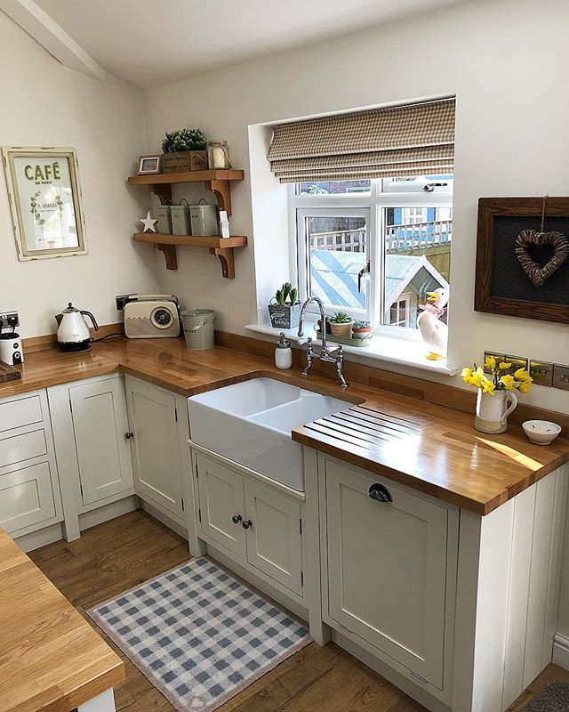 Farmhouse kitchen with wood countertops in 2019 | Home ... on Farmhouse Kitchen Counter Decor Ideas  id=68546