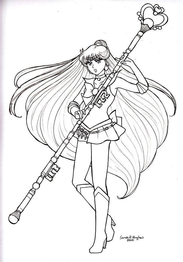 Colorear Raquel Meiou es Sailor Pluto LineArt Sailor Moon