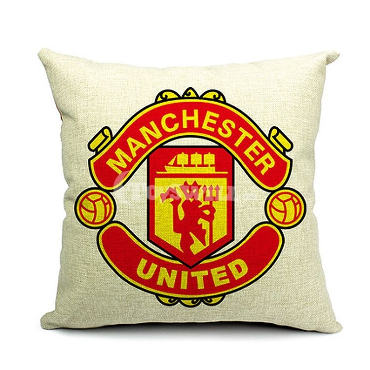 Fans Gift Soccer Stuffed Cushions | EPL Manchester United Football Club Badge One-sided Pillow