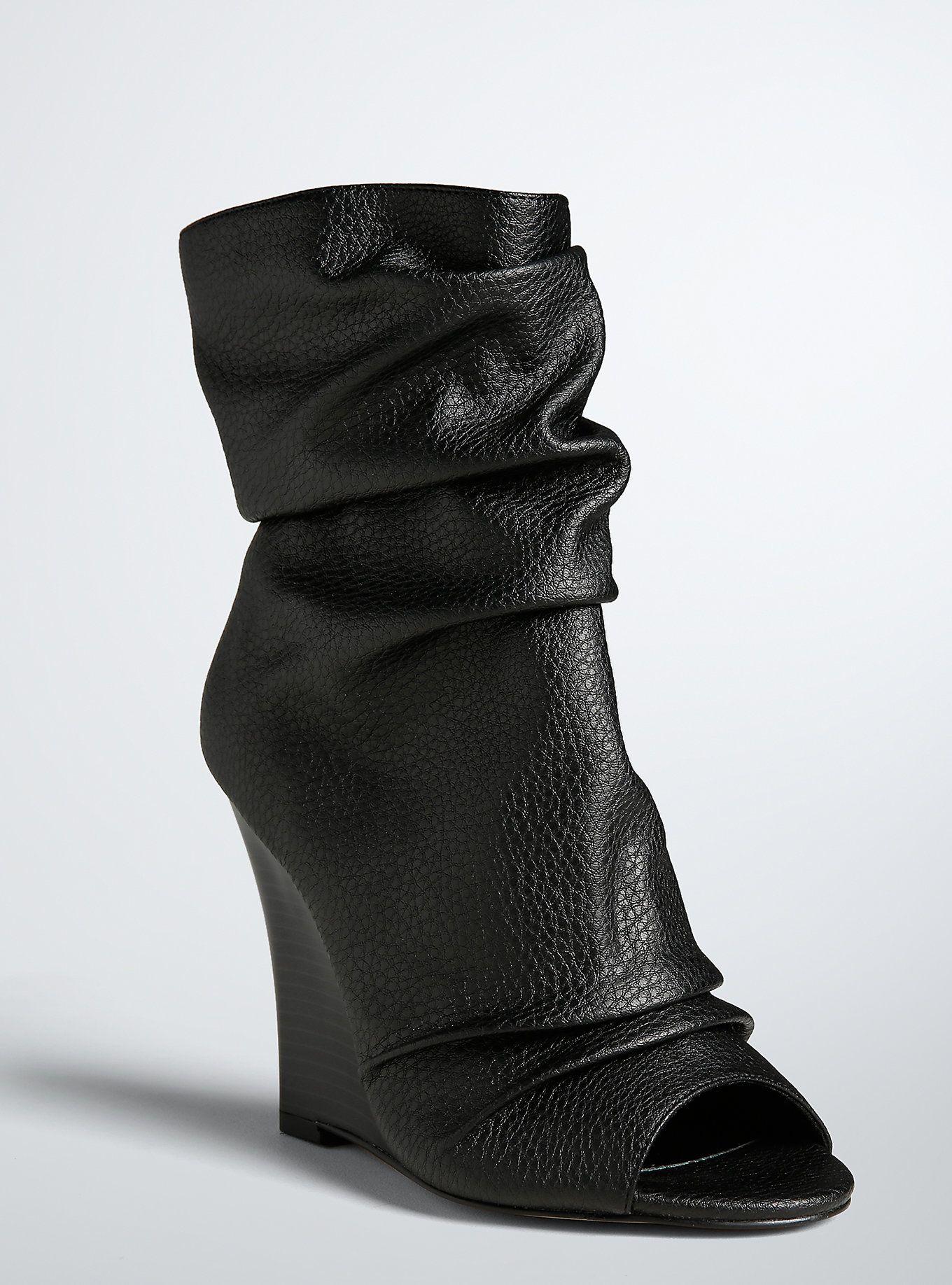 044303af19b Plus Size Peep Toe Wedge Booties (Wide Width)