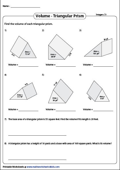 47++ Pretty volume triangular prism worksheets information
