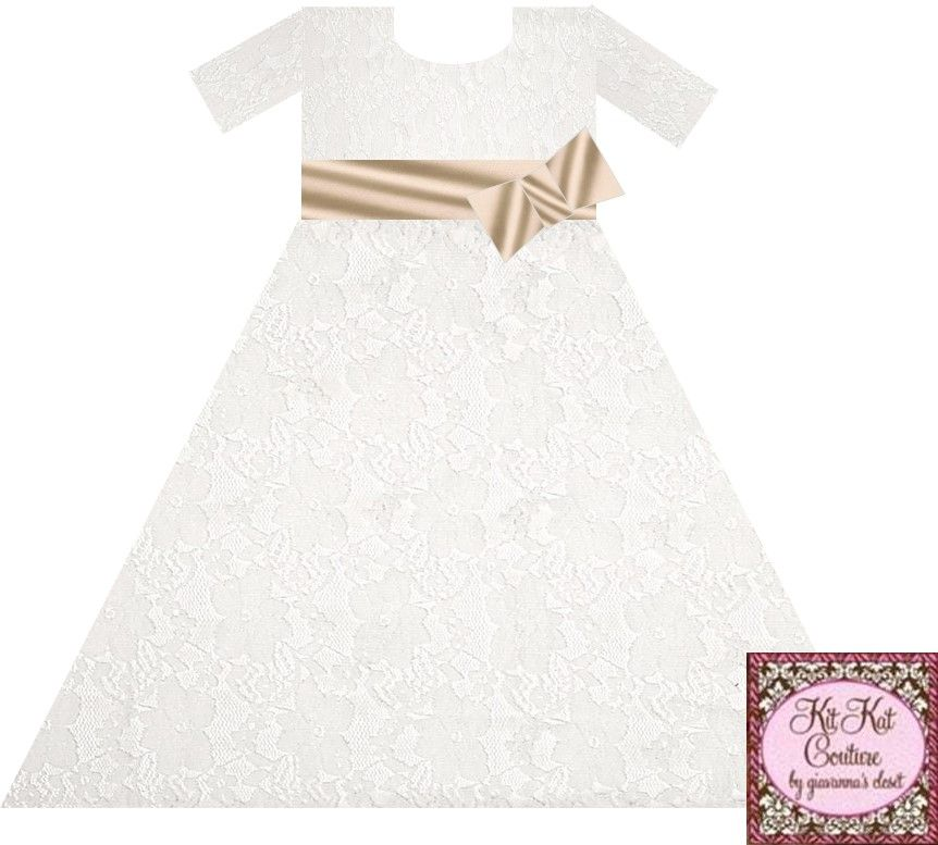 This has a champagne colored sash, this is floral lace, i love this lace too.
