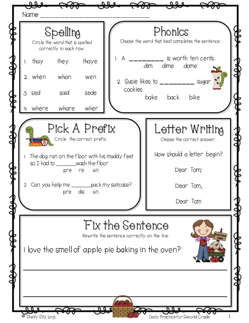 ELA for 2nd grade---FREE--great for homework or morning work ...