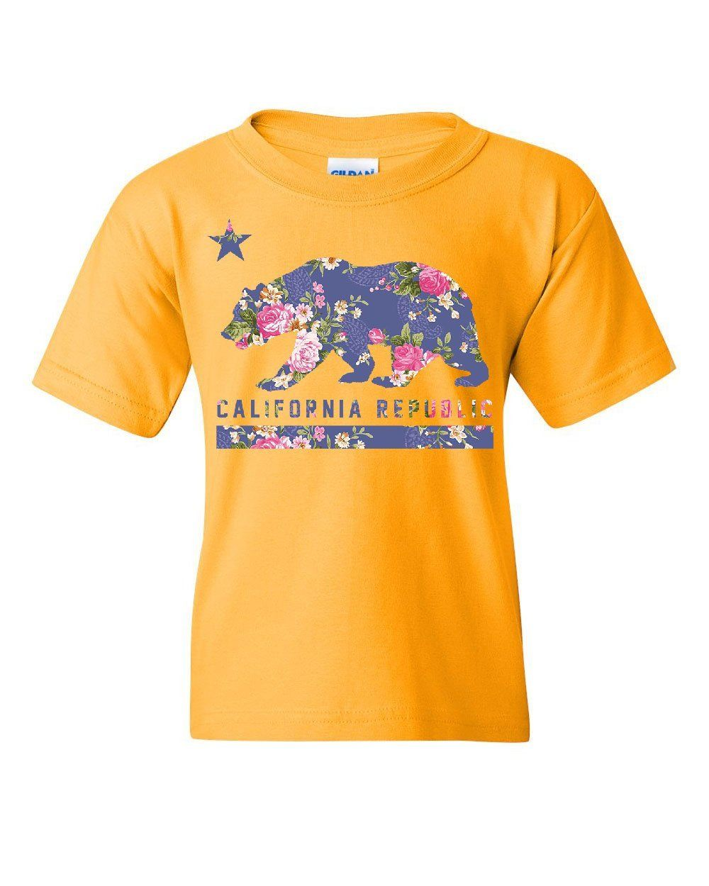 California Republic Floral Youth T-Shirt Star Bear Cali CA West Coast Kids Tee