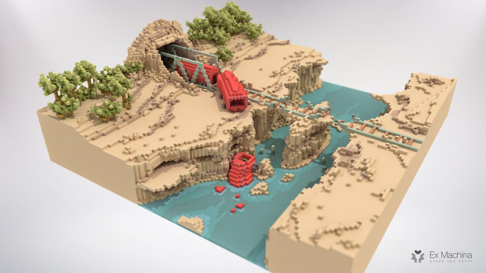 Machina Le Pixel Voxel Art T - Year of Clean Water