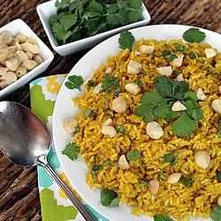 Golden Coconut Brown Rice -- turmeric and coconut milk add a flavor & nutrition boost; gluten free, vegetarian, vegan.