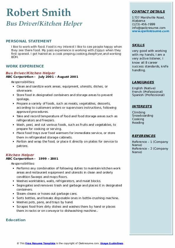 Resume Templates For Kitchen Helper 8 Templates Example Templates Example Resume Templates Professional Templates Templates
