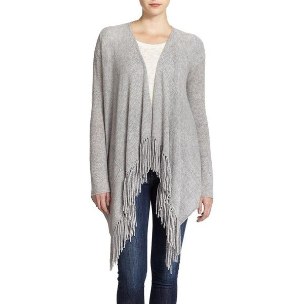 360 Cashmere Dominique Cashmere Fringed Draped Cardigan (2.195 NOK) ❤ liked on Polyvore featuring tops, cardigans, apparel & accessories, draped open front cardigan, cashmere cardigan, open front cardigan, drapey cardigan and long sleeve fringe top