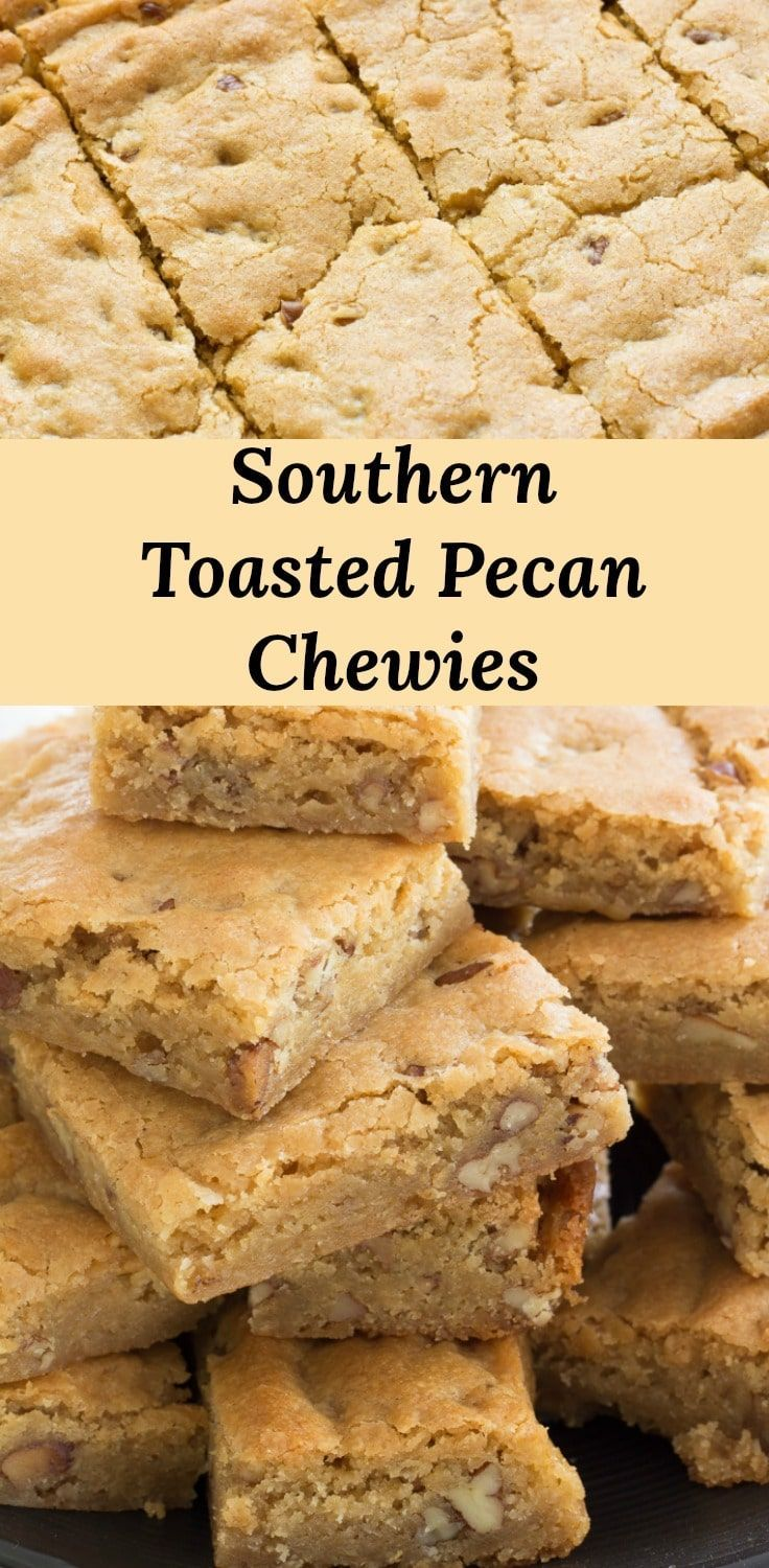 Southern Pecan Chewies, soft and gooey brown sugar blondies loaded with toasted ...   - Pear Tree Kitchen Recipes -