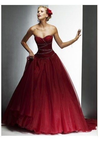 Image Detail For Royal Ball Gown Style Sweetheart Wine Red Organza Wedding Dress