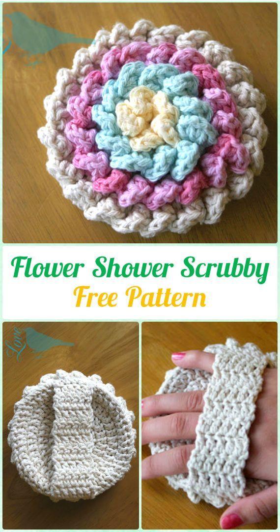 Crochet Flower Shower Scrubby Free Pattern - Crochet Spa Gift Ideas ...