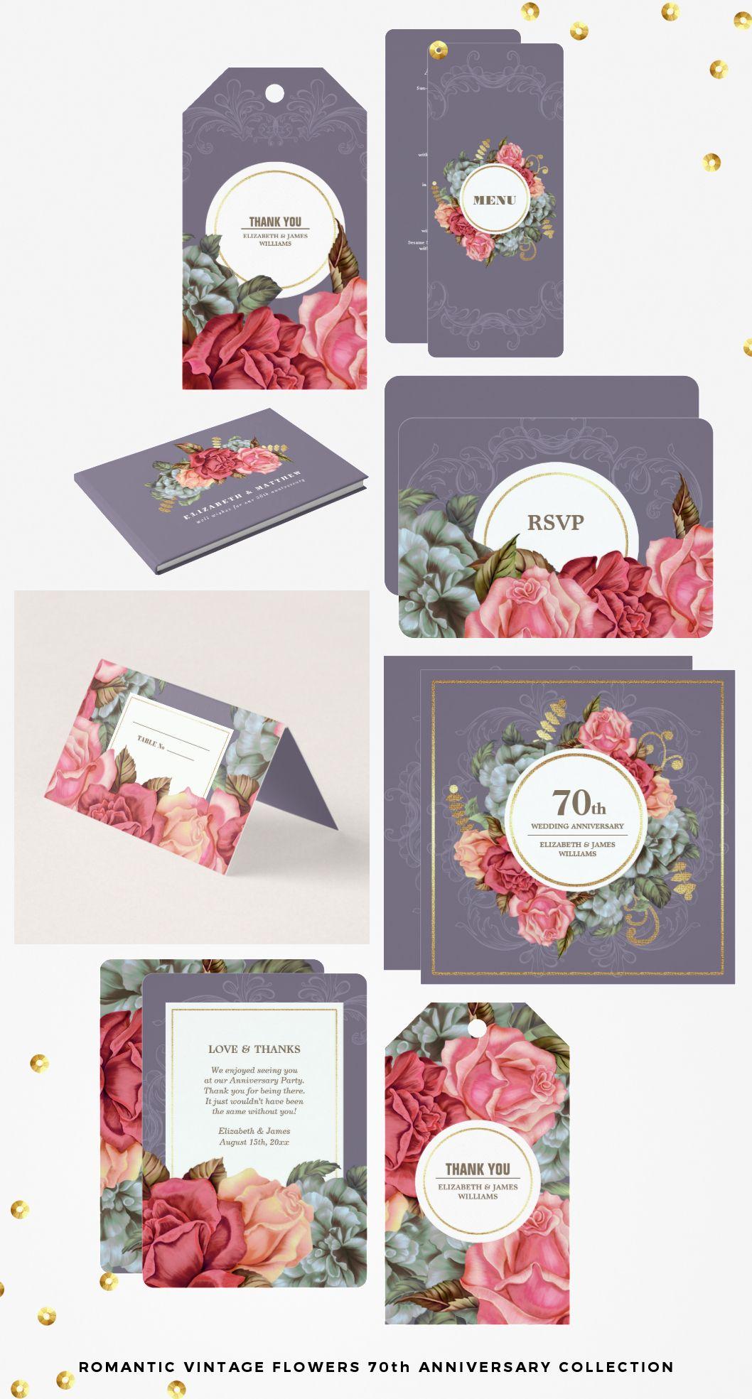 ROMANTIC VINTAGE FLOWERS DESIGN 70TH WEDDING ANNIVERSARY