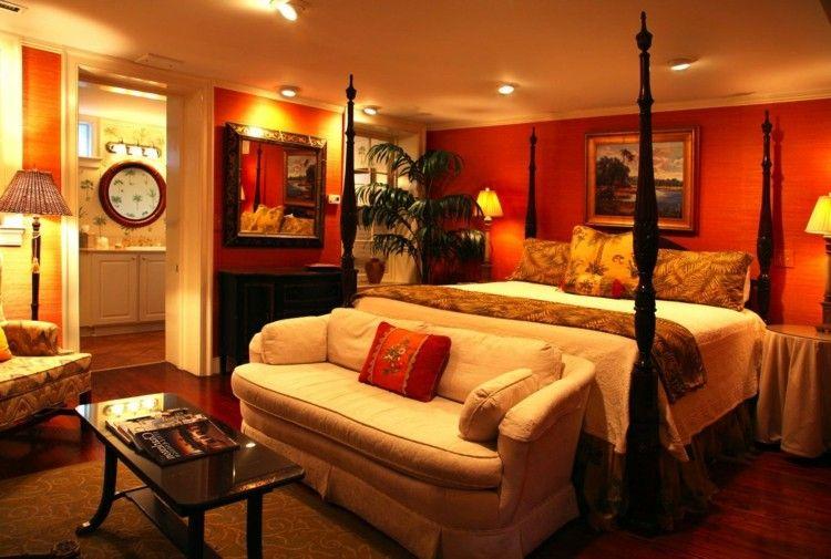 couleur pour chambre moderne, murs de couleur ocre, lit à baldaquin