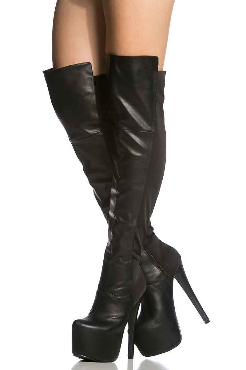 Black Faux Leather Two Tone Knee High Platform Boot -4978