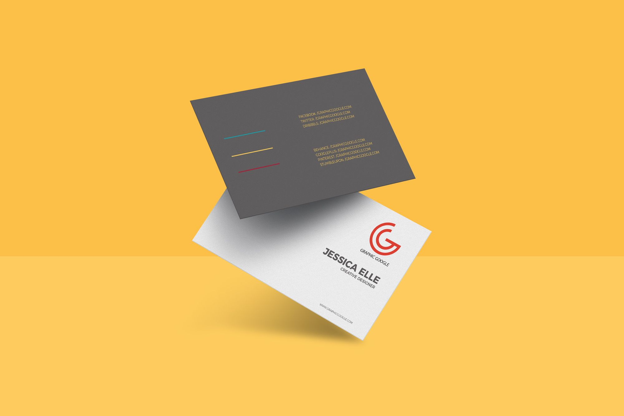 Free Floating Business Card Mockup Psd 657 Mb Graphic Google