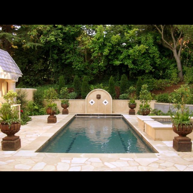 potted plants around the pool cottage garden designcottage gardensswimming