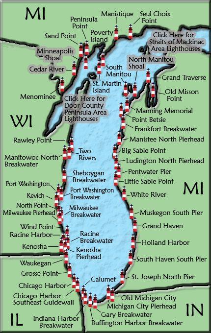 Lake Michigan Lighthouses.