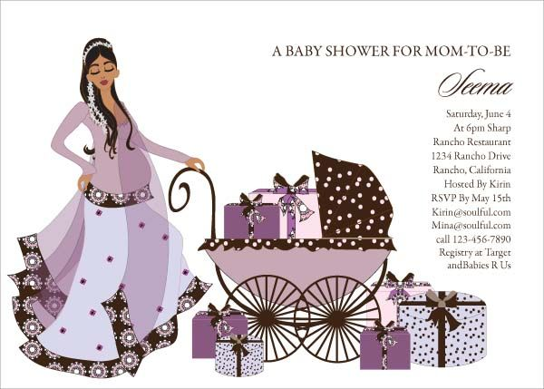 Buggy Diva Indian Baby Shower Invitations by Soulfulmoon Baby