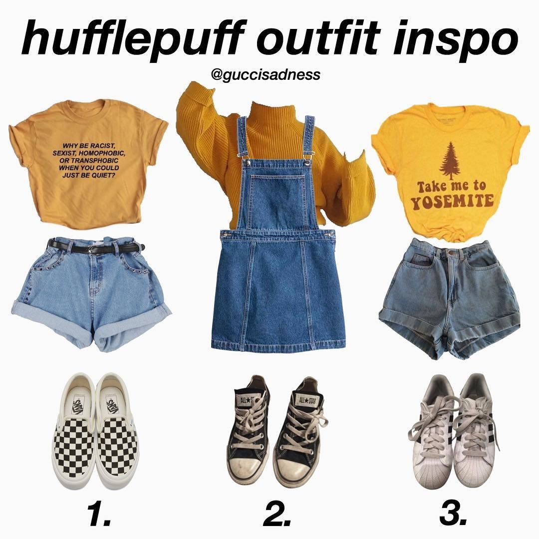 Pin By Daegan Welch On Stuff To Wear Retro Outfits Hogwarts Outfits Hufflepuff Outfit