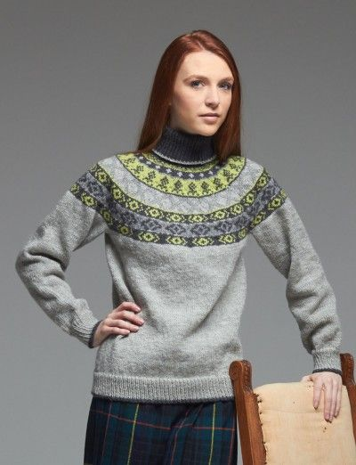 Woman's Fair Isle Yoke Sweater - Patterns | Yarnspirations | Round ...