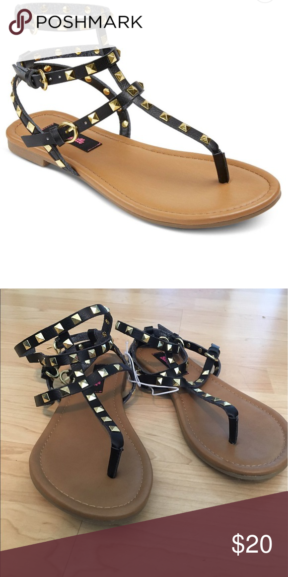 f896c8ee7baa Betseyville Gladiator Stud Sandals Brand new with tags! Black gladiator  sandals with gold studs. Knockoff of the Valentino Rockstud Gladiator  Sandals.