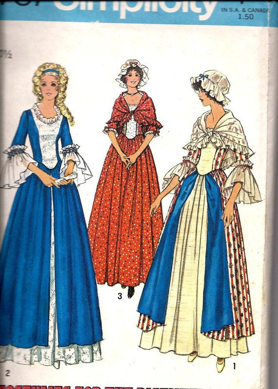 Costumes For The Bicentennial Dress Cap Shawl Simplicity 40 Mesmerizing Colonial Dress Patterns
