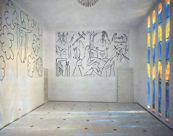 The Inside of the Chapelle du Rosaire in Vence. Between 1949 and 1951, artist, Henri Matisse, designed and decorated a small chapel for Dominican Nuns in Vence. The image shows walls decorated with three large murals alongside his stained glass window designs.