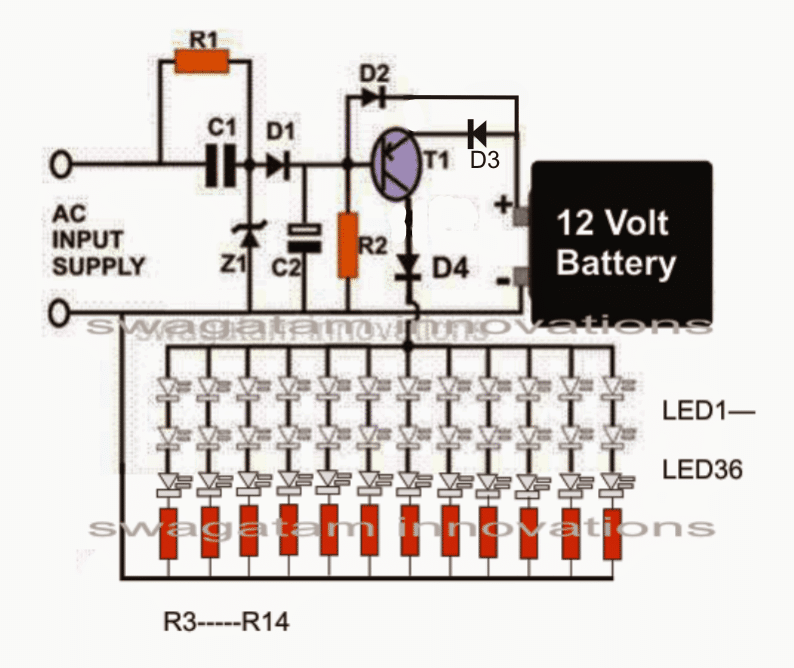Smd Led Based Emergency Lamp Circuit Homemade Circuit Projects In 2020 Circuit Projects Circuit Led Emergency Lights
