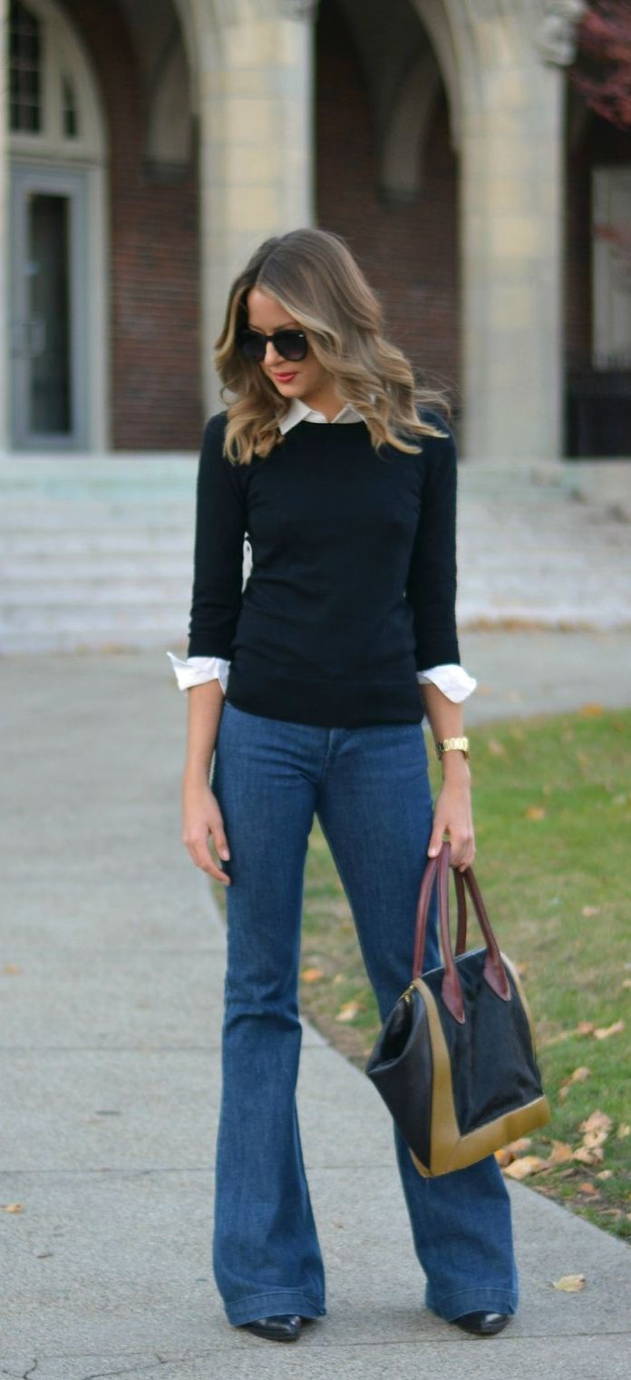 street style tip of the day flared jeans wedges what s and clothes. Black Bedroom Furniture Sets. Home Design Ideas
