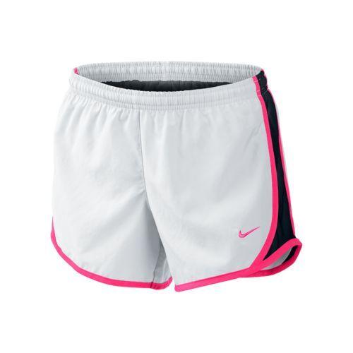 Nike Girls' Tempo Running Short (White/Black/Hyper Pink, Size Medium) - Girl's Apparel, Girl's Athletic Shorts at Academy Sports