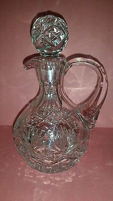 "BEAUTIFUL ☆ CRYSTAL OIL & VINEGAR DECANTERS/BOTTLES ☆ PERFECT CONDITION 7"" tall"