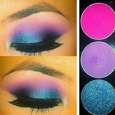 Fuschia. Midnight blue. #Eyeshadow