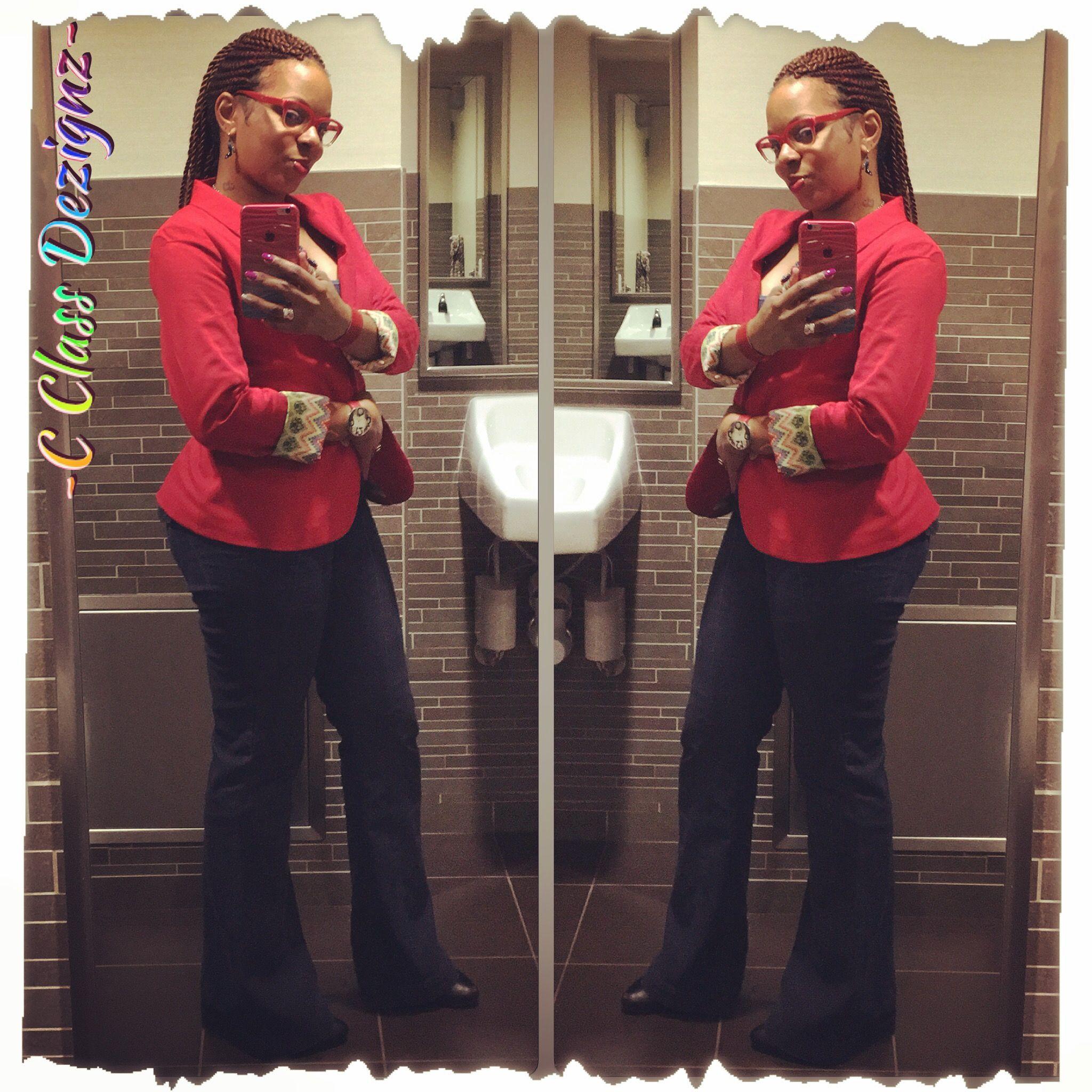 Wide Leg Denim Trousers w/Red Blazer