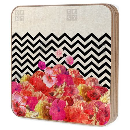Handcrafted bamboo jewelry box with a chevron and floral motif. Made in the USA.    Product: Jewelry boxConstructi...