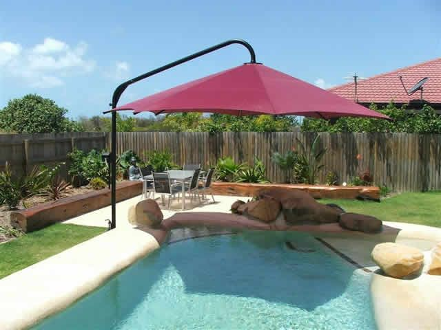 Cantilever Umbrella Pool Shade Backyard Pool Landscaping